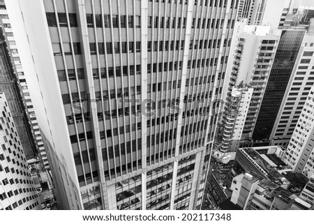 City scenery with buildings and skyscrapers, high angle view, Hong Kong, Asia. - stock photo