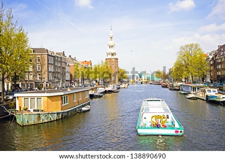 City scenic from Amsterdam in the Netherlands with the Montelbaanstower