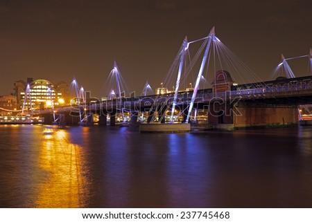 City scenic in London UK by night - stock photo