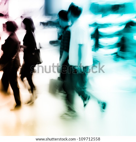city shopping people crowd at marketplace shoe shop abstract - stock photo