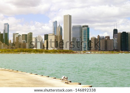 City Sidewalk With Dog And Skyline in Background - stock photo