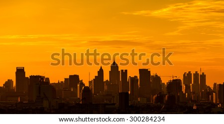 City silhouette against the sky on a sunset. Bangkok city. - stock photo