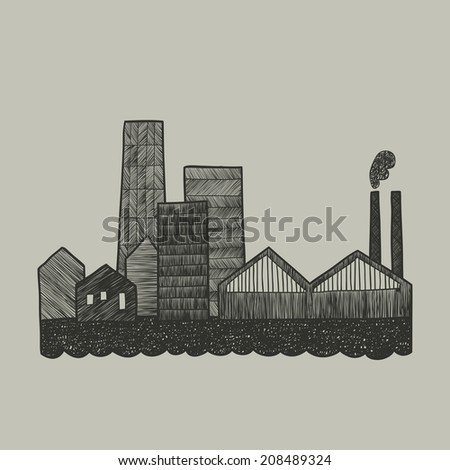 City silhouette. Hand drawn illustration. Raster version - stock photo