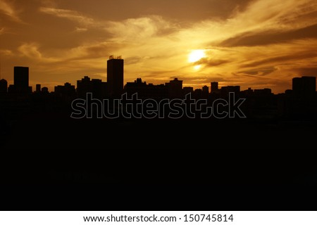 City silhouette Johannesburg  - stock photo