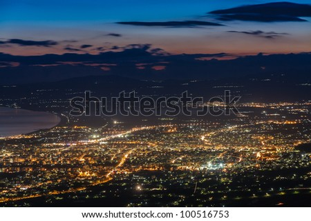 City skyline aerial view in the afternoon in Greece