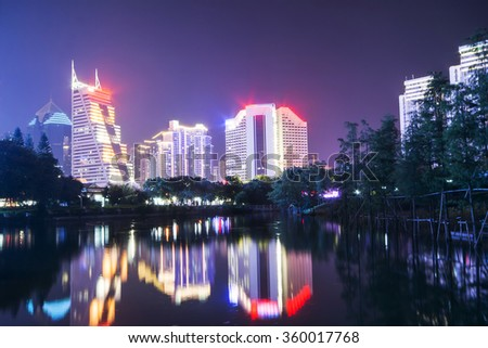 city skyline and reflection