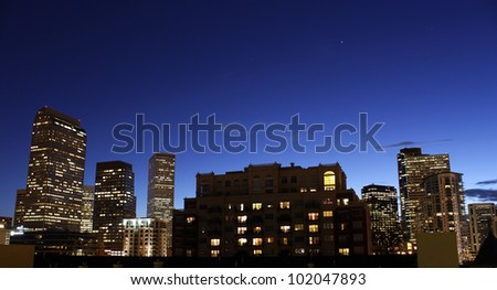 City skyline at dusk
