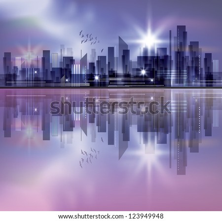 City skyline at night with reflection in water. Raster version - stock photo