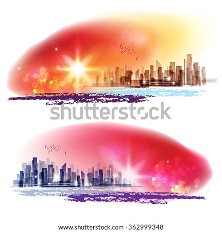 City skyline at sunset with sea - stock photo