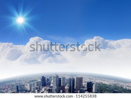City skyline illustration/ modern city under blue sky - stock photo
