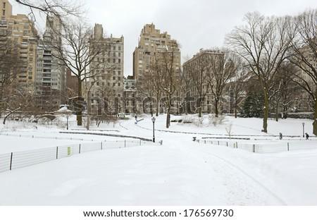 City Skyline in the Snow, Central Park, Manhattan New York City. - stock photo