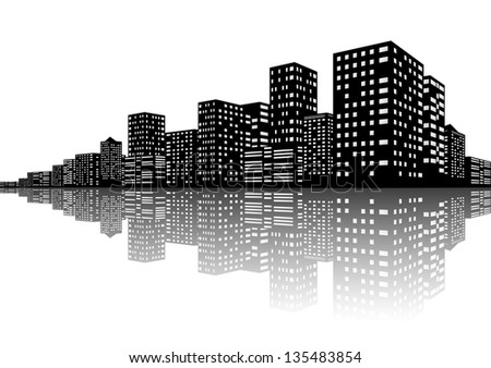 City Skyline Night scenes - stock photo