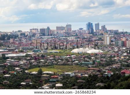 City skyline of Batumi resort in Adjara region, Georgia. Panoramic view of Batumi town. Seaport Batumi on a Black Sea. - stock photo