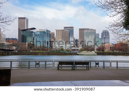 City skyline of downtown Portland Oregon in the Winter from across the river.