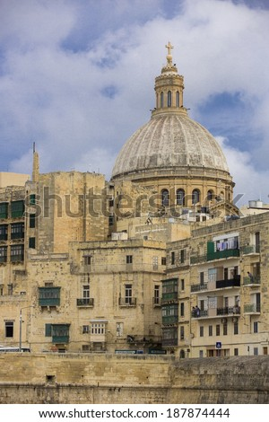 City skyline of Valletta, the capital city of Malta. - stock photo