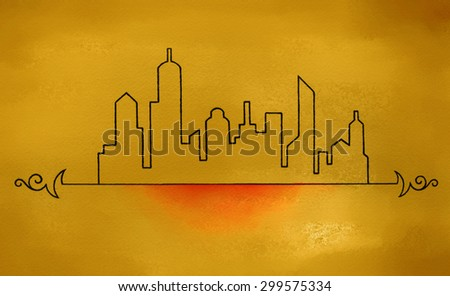 city skyline silhouette in black hand drawn art sketch, skyscrapers downtown, modern art urban design on gold shiny metal background, curl design elements, cool travel concept - stock photo