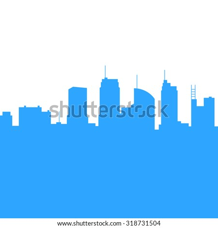 City Skylines Silhouette Background.  - stock photo