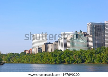 City skyscrapers in Arlington, Virginia. Potomac waterfront from Georgetown Park.