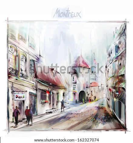 City street - stock photo