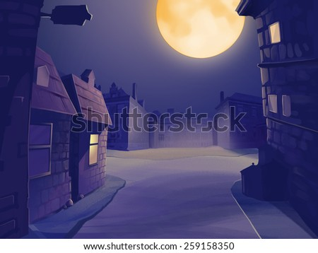 City street at midnight with full moon in the sky. Empty street with houses. Digital background raster illustration. - stock photo
