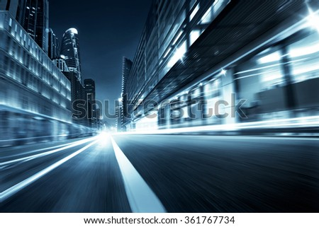 city street motion blur background,monotone cold mood  - stock photo