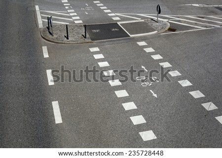 City street, road markings - stock photo