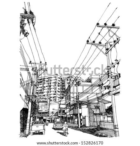 City street : sketchbook   - stock photo