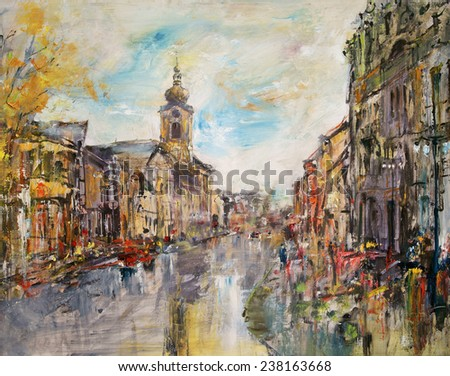City street with Baroque church, oil painting artistic background                                - stock photo