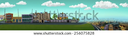 City street with houses on one side of the road. Digital background raster illustration. - stock photo