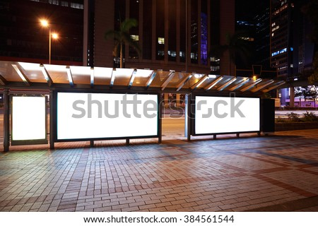 City streetscape backgrounds advertisement lightboxes of night scene