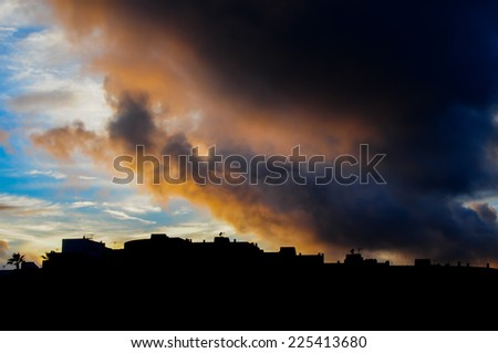 City Sunset Landscape in South of Tenerife Canary Island Spain