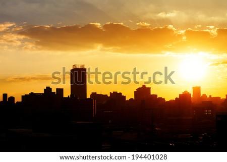 City sunset Sillohette - stock photo