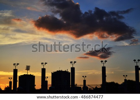 City Sunset sky clouds.