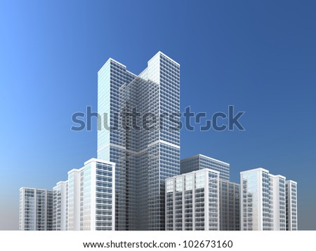 city towers and skyscraper, modern architecture development and city growth