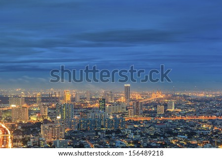 City town at twilight, View Point on top of building, Bangkok, Thailand - stock photo