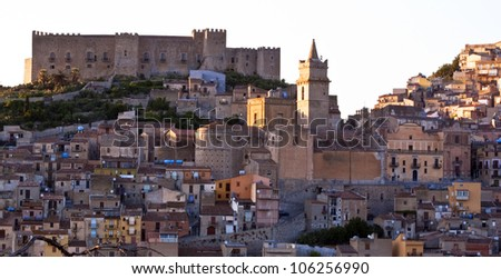 City, town landscape with many ancient and old houses. Caccamo, Sicily, Italy - stock photo