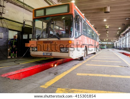 City urban autobus, part of the city public transport network, is seen in the bus depot and workshop during service check, Sofia, Bulgaria, May 4, 2016.