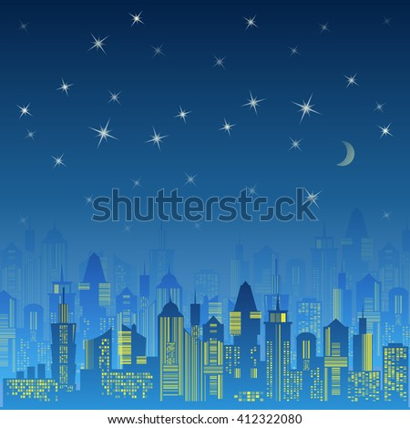 City urban design. Night landscape. Cityscape silhouette in the evening. Modern city design with luxurious skyscrapers. Buildings on the dark sky background with moon and stars. illustration - stock photo