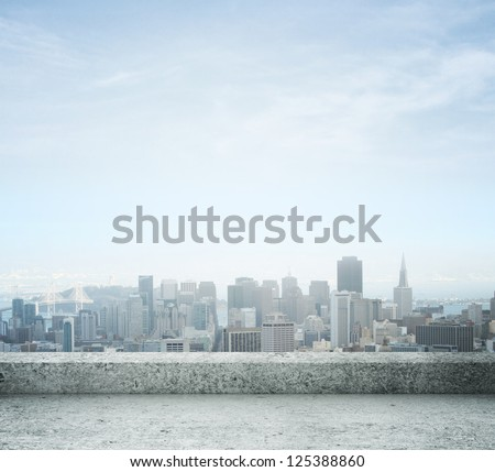 city view from concrete roof - stock photo
