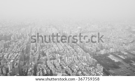 city view from top in black and white - stock photo