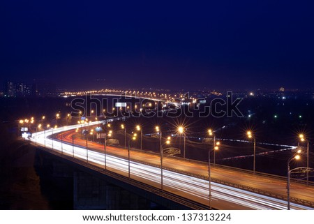 city view in the evening - stock photo