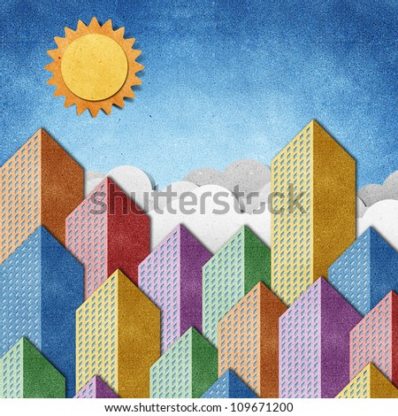 City View made from recycled paper background - stock photo