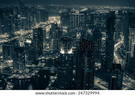 city view of Dubai, skyscraper, different photos of Dubai at sunset, blue hours and night - stock photo