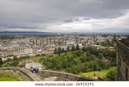 City view of Edinburgh from the castle hill.