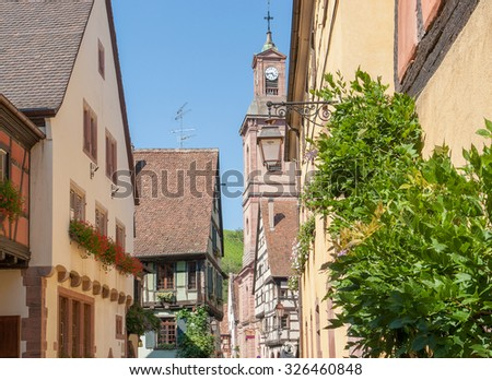 city view of Riquewihr, a town in Alsace, France - stock photo