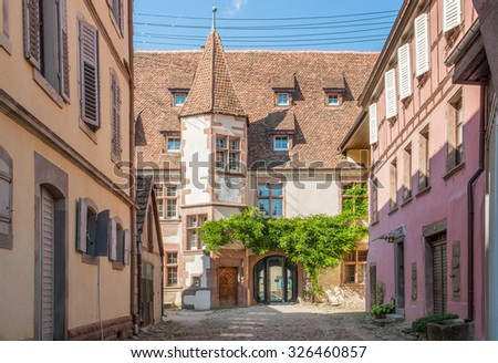 city view of Riquewihr, a town in Alsace, France