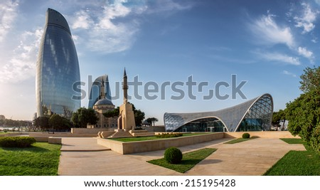 City view of the capital of Azerbaijan - Baku. Famous Flame Towers, mosque and funicular station.  - stock photo