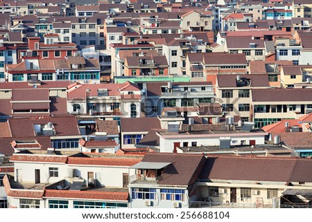 City view on Hengdian, Zhejiang Province, China. - stock photo