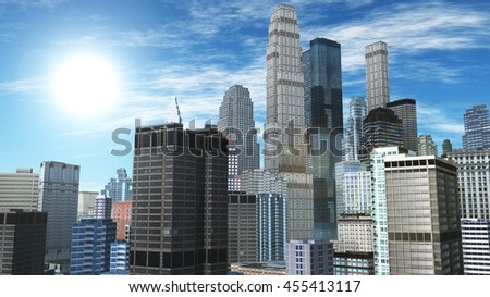 City view. sun over the city. the sky and the city. 3D rendering