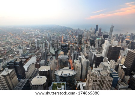 City viewpoint from high tower - stock photo